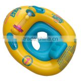 yellow and blue inflatable baby boat float with smooth leg holes,ride-on inflatable baby boat
