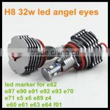 For BMW LED marker E92 H8 32W with fan LED angel eyes canbus LED headlight halo ring bulb for BMW E90 E91 E84 E63 E89 X1 Z4 M3