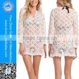 Latest V neck design beach cover up women summer dress crochet dress