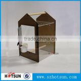 China factory supply house shaped acrylic bird cage with clear window