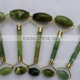 with your own logo design healing hot stone natural green jade massager art gift crafts