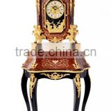 European Style Antique Wooden Table clock With Table, Luxury Brass Mouthed Clock For Home Decor