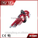 9pcs 40Cr-V Short Arm Ball Point Hex Key wrench setmirror and coating /hex key spanner /mirror hex key wrench set