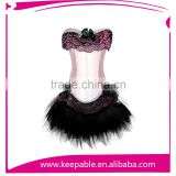 Sexy Black Red Purple Pink Woman Embroidered Boned Satin Bustier Corset With Tutu Skirt