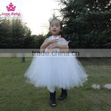 Pure White Tulle Girl Crochet Tutu Dress Beautiful Puffy Baby Dance Dress