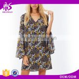 Guangzhou Shandao Factory Spring Stylish Casual Bell Sleeve V-Neck Short Indonesia Kaftan Dress