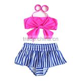 Bow stripes two pieces swimwear for baby girl