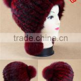 Y.ROGUSA Brand YR056 Wholesale China Hand Knitted Mink Fur Hat with pom pom Lots of Colors