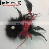 Black Feather Hair Clip or Brooch With Beads and Crystal For Women