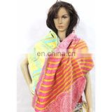 Kantha Indian Reversible Cotton Scarf Handmade