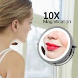 Doublesides LED Cosmetic 10X Magnification MakeupMirror Rechargeable Mirror