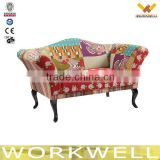 WorkWell upholstered wood and classic children flower fabric sofa Kw-D4220-1                                                                         Quality Choice