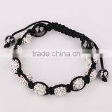 Newest designs crystal rhinestone beaded shamballa bracelets, disco round ball woman bangles