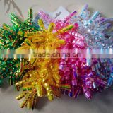 Various Colors Iridescent curly ribbon bow 3pcs/card for easter decoration or red wine bottle wrapping