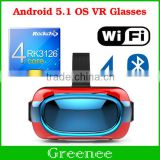 2016 Hot EVR01 VR 3D Glasses All in one For Android 5.1 OS Virtual Reality Glass Built-in Wifi 4 Core Smart Android VR Box