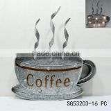 metal coffee cup wall art with light effects