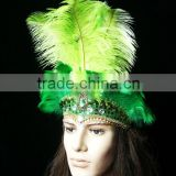 Carnival Headdress Hand Painted(green Color) Female headdress With Ostrich Feather