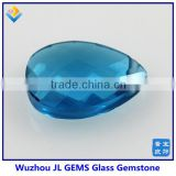 Synthetic Double Facet Cut Crystal Sky Blue Glass Pear Shape Gemstone Decoration