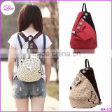 New Fashion Women Backpack Contrast Polka Dot Button Decoration Canvas Shoulder Bag Khaki with Red Dot