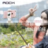 Original Rock Portable Mini Folding mobile phone Wired self Selfie Sticks For iPhone/Android 13.9-60cm Monopod Tripod MT-5619