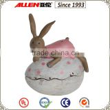 "5.5"" pink dress bunny rabbit lying on Easter egg resin craft, decorative easter rabbits"