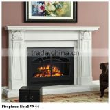 Home Beautiful Polished Marble Stone decor Flame Electric Fireplace Wall Mounted