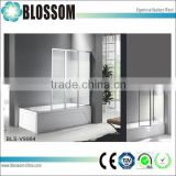 China factory 3 fold tempered glass shower bathtub screen folding bathtub shower door                                                                         Quality Choice