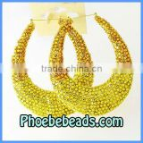 Wholesale Crystals Bamboo Earrings Gold Two Tone Fashion Big Hoop Basketball Wives Jewelry ABE005-3