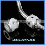Wholesale White Enamel and Black CZ Sterling Silver Jewelry Beads BES58