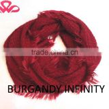 100%Acrylic scarf, elegant burgandy yarn dyed fabric infinity scarf, fashionable Womenscarf