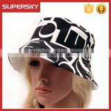 A-1487 Holiday Printed Pattern Cotton Bucket Hat Wide Rim Flat Top Bucket Cap Women Fishing Bucket Hat