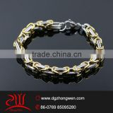316 L stainless steel & gold motorcycle chain bracelet
