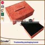 wholesale customed leather shoes tin box/leather paper jewelry box/custom leather coin storage box