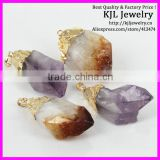 GZKJL-CT0104 Mixed Citrine Amethyst Clear point Quartz Rough freedom shape Gem druzy Stone Pendant jewelry
