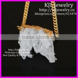 KJL-BD5279 Gold Plated Natural Clear Rock Crystal Quartz vug Cluster Druzy Pendant On Gold Chain,Crystal Drusy Pendant Necklace
