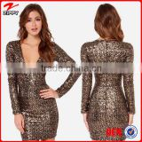 2015 Top Selling Products WomenSexy Free Prom Sequin Dress Elegant Sequin Dress With Deep V Neck Front                                                                         Quality Choice