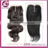 4*4 middle part lace closure with baby hair virgin human hair slightly bleached knots body wave brazilian lace closure