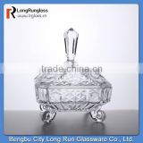 LongRun 718ml 2014 hot sale clear crystal glass holder fancy glass candy container home use glassware