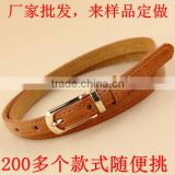version of the new candy-colored thin leather belt, Genuine leather belt ,female small decorative belt