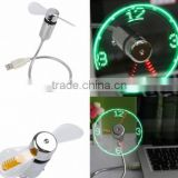 USB LED Clock Fan / Fan Clock with LED Light / led message usb fan