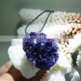 Wholesale Natural Amethyst Crystal Geode Cluster Gemstone Irregular Gold Plated Pendant