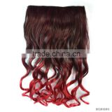 Gradient color film wig hair piece wig hair extensions two tone omber black burgundy gradient coil