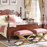 Distinguished Palace Bedroom Furniture Set, Antique Carved Wooden 4-Poster Bed With Night Stand, Unique Design Queen Poster Bed
