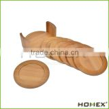 Factory Direct Selling Bamboo Personalized Coasters /Bamboo Cup Mat Homex_BSCI/ FDA/ LFGB
