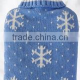 blue snowflower knitted 2 liter hot-water bottle cover