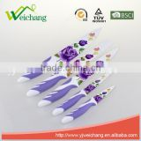WCE7102 5 pcs set Kitchen Knives colorful non-stick blade rubber with PP handles , hot sale