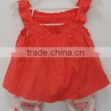 baby girls red dress with printed knit shorts 2 pcs suits for summer