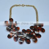 Hottest selling crew foral crystal imitate famous brand necklace jewelry