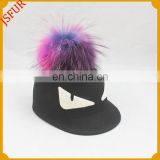 Wholesale stylish genuine raccoon fur colourful pompom cap