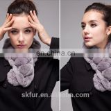 Thick and warm rex rabbit fur ball scarf